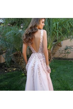 A-Line V-Neck Beaded Long Prom Dresses Formal Evening Gowns 601915