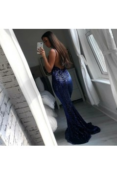 Mermaid Sequins Long Prom Dresses Formal Evening Gowns 601918