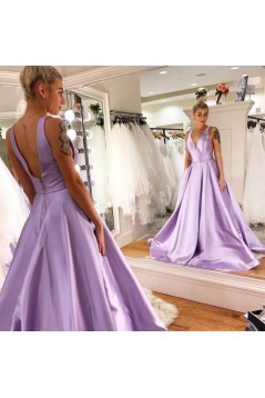 A-Line V-Neck Long Satin Prom Dresses Formal Evening Gowns 601921