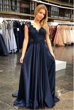 A-Line Lace V-Neck Long Prom Dresses Formal Evening Gowns 601922