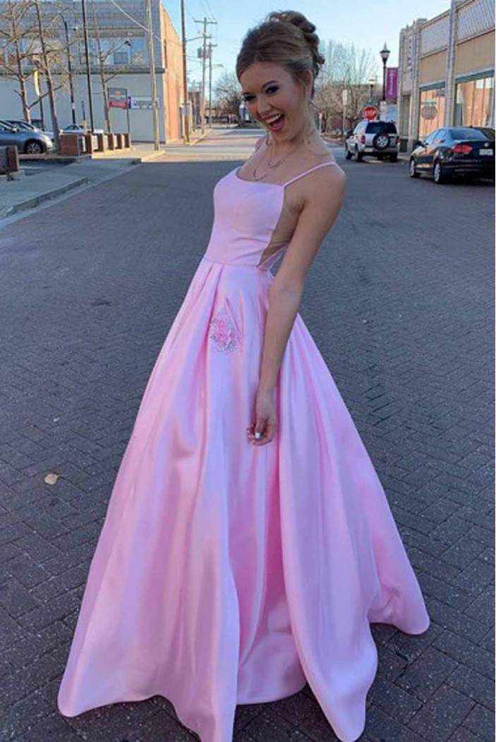 A-Line Spaghetti Straps Satin Long Prom Dresses Formal Evening Gowns 601927