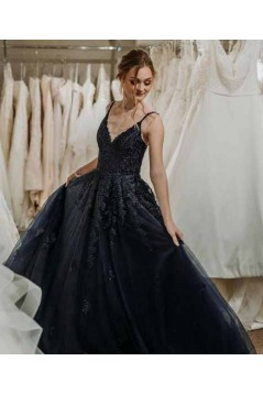 A-Line Spaghetti Straps Long Black Prom Dresses Formal Evening Gowns 601928