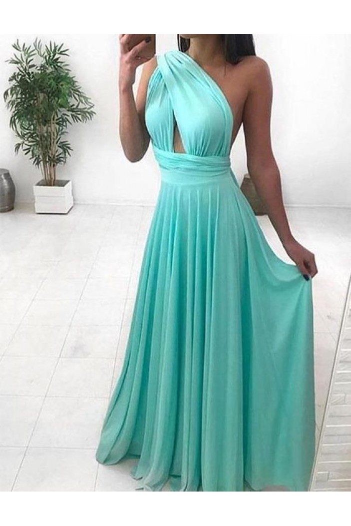 A-Line Long Chiffon One Shoulder Prom Dresses Formal Evening Gowns 601932