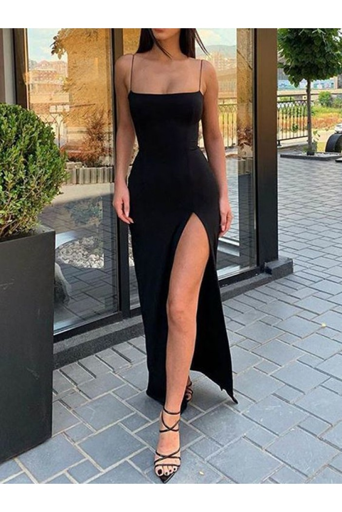 Simple Long Black Spaghetti Straps Prom Dresses Formal Evening Gowns 601933