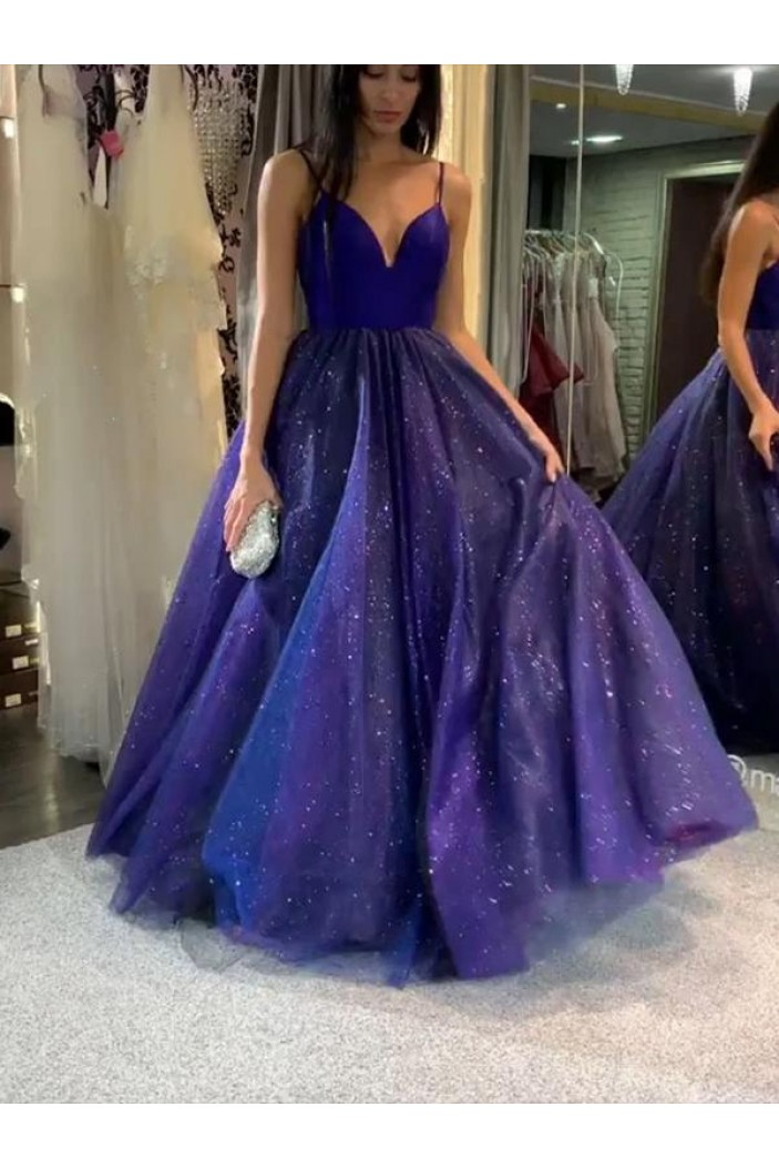 A-Line Spaghetti Straps Long Prom Dresses Formal Evening Gowns 601934