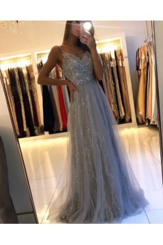 A-Line Beaded Lace Long Prom Dresses Formal Evening Gowns 601935