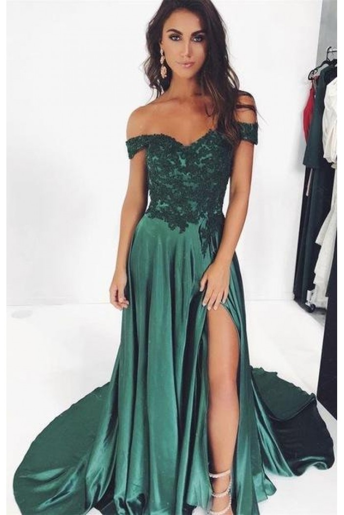 A-Line Lace Off-the-Shoulder Long Prom Dresses Formal Evening Gowns 601936