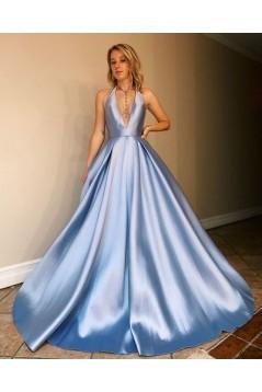 A-Line Backless V-Neck Long Prom Dresses Formal Evening Gowns 601938