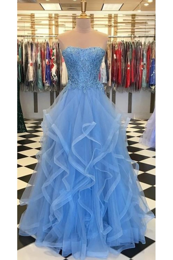 Elegant Beaded Lace Tulle Long Prom Dresses Formal Evening Gowns 601941