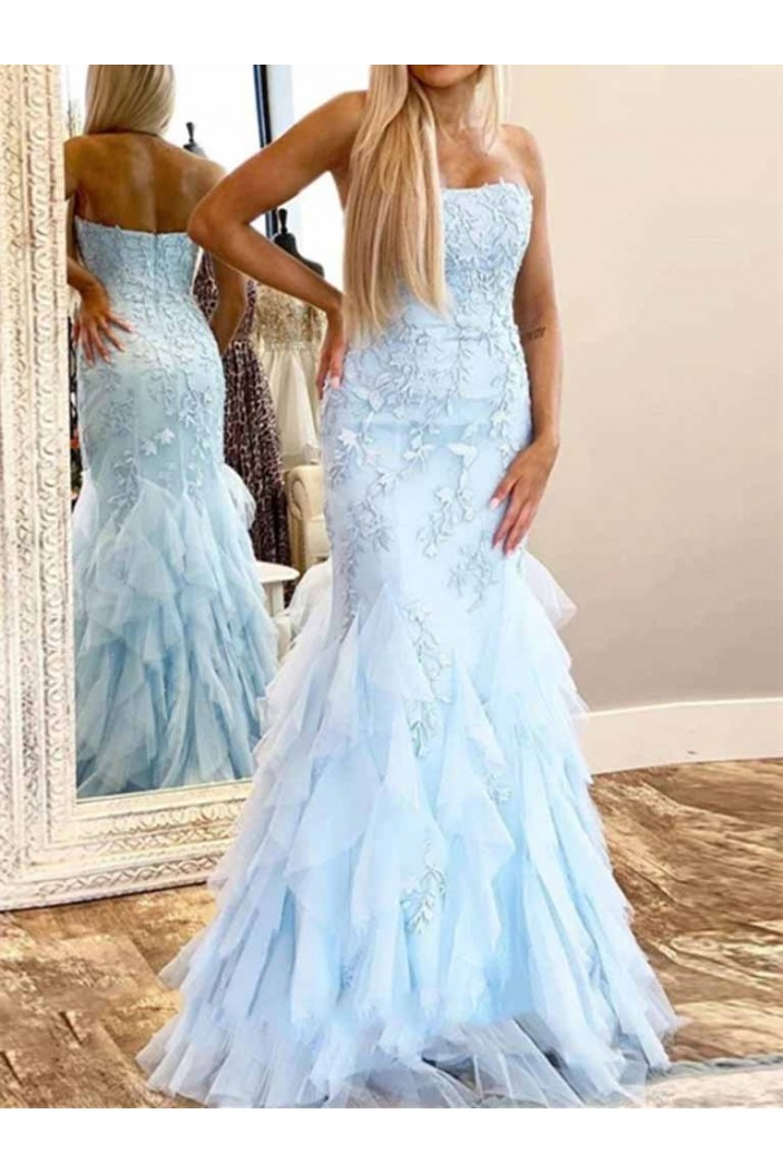 Mermaid Strapless Lace Tulle Long Prom Dresses Formal Evening Gowns 601943