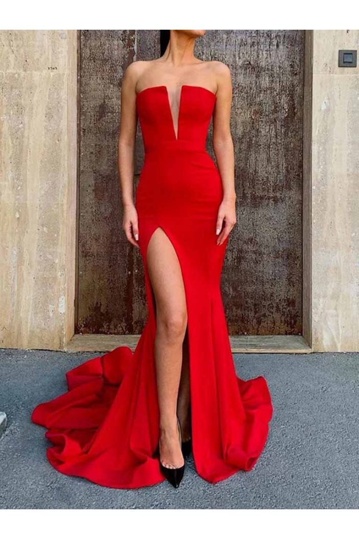 Mermaid Long Red Prom Dresses Formal Evening Gowns 601944