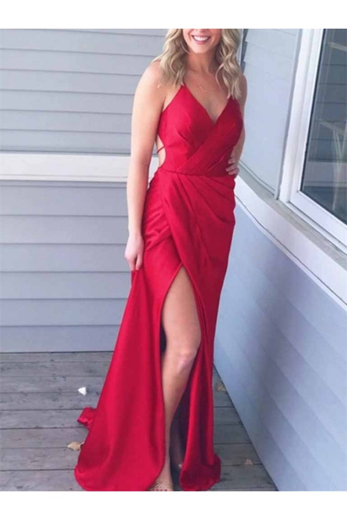 Long Red V-Neck Prom Dresses Formal Evening Gowns 601953