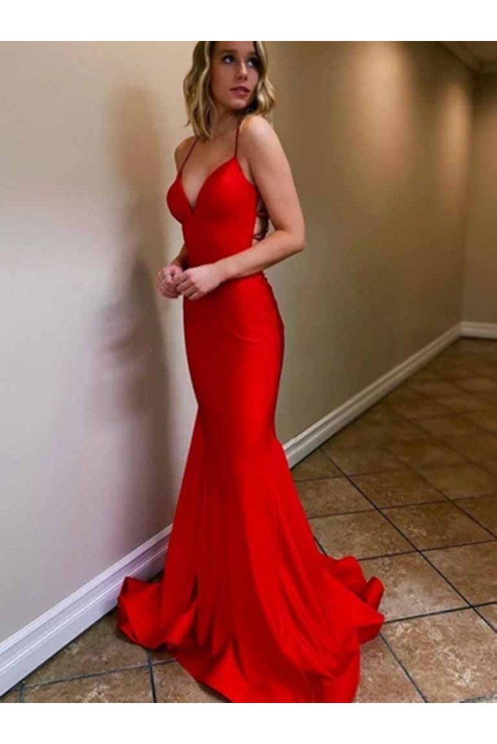 Long Red V-Neck Prom Dresses Formal Evening Gowns 601954