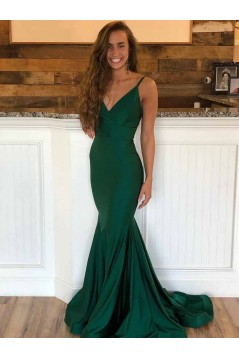 Mermaid V-Neck Long Green Prom Dresses Formal Evening Gowns 601956