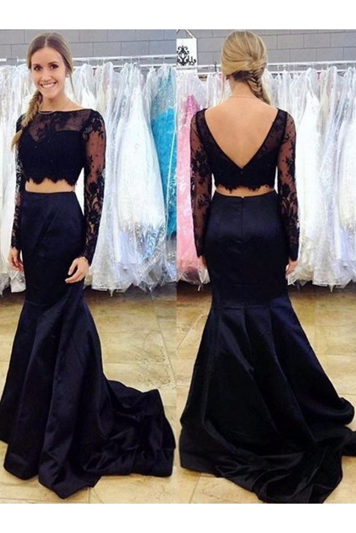 Long Sleeves Lace Satin Two Pieces Prom Dresses Formal Evening Gowns 601959