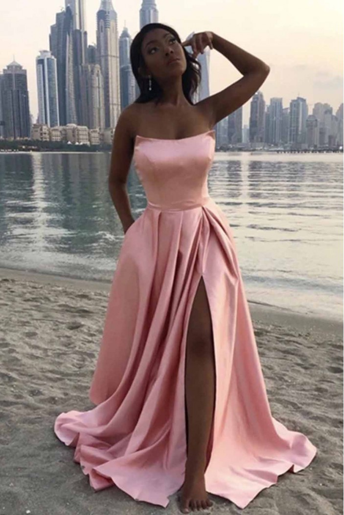A-Line Long Satin Prom Dresses Formal Evening Gowns 601961