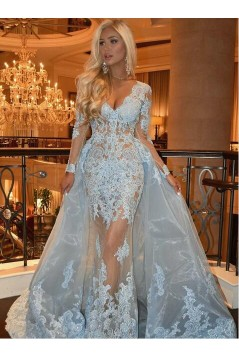 Long Sleeves Lace V-Neck Prom Dresses Formal Evening Gowns 601962