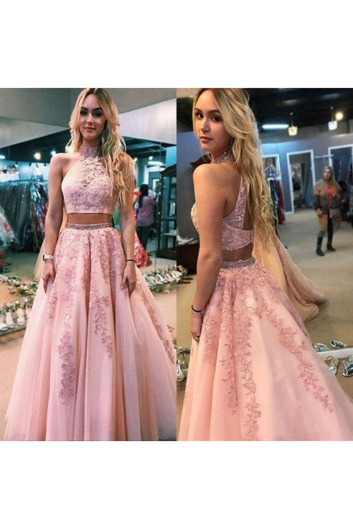 A-Line Beaded Lace Two Pieces Long Prom Dresses Formal Evening Gowns 601964