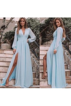 A-Line Chiffon Long Sleeves V-Neck Formal Evening Dresses Party Gowns 601966