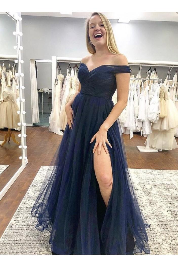 A-Line Off-the-Shoulder Tulle Long Prom Dresses Formal ...
