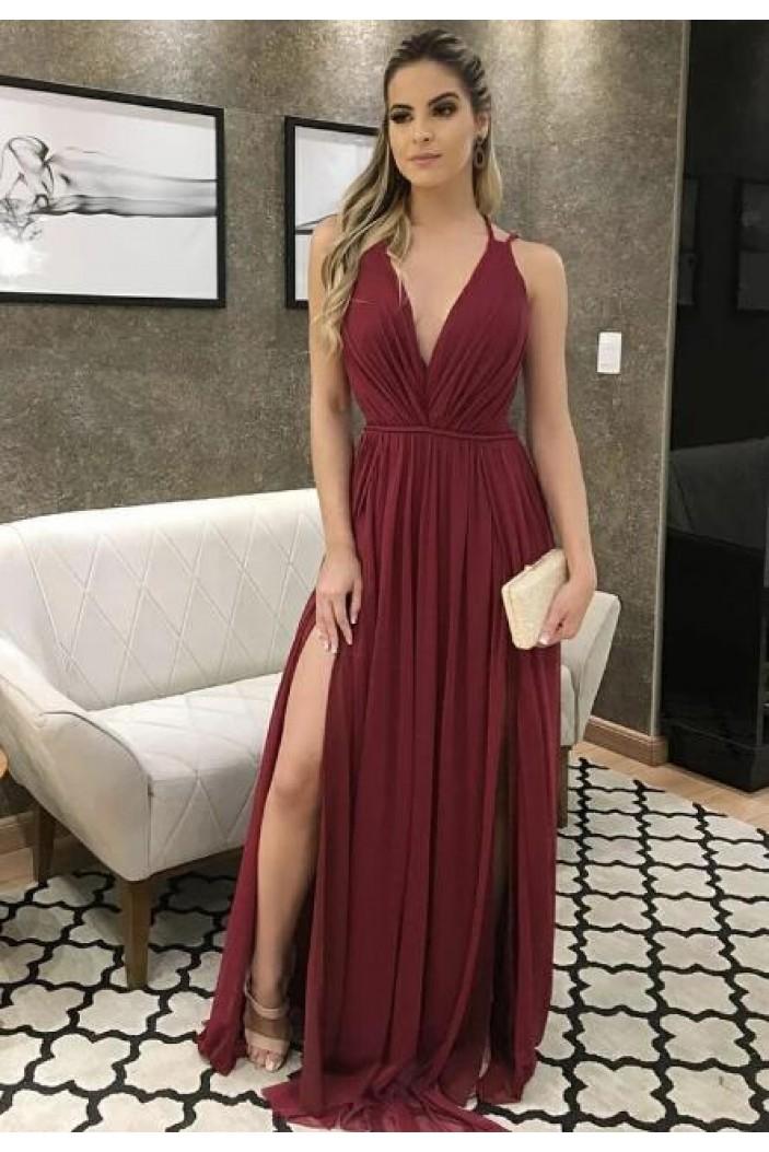 A-Line V-Neck Long Prom Dresses Formal Evening Gowns 601970