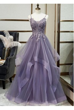 A-Line Tulle Lace Long Prom Dresses Formal Evening Gowns 601971
