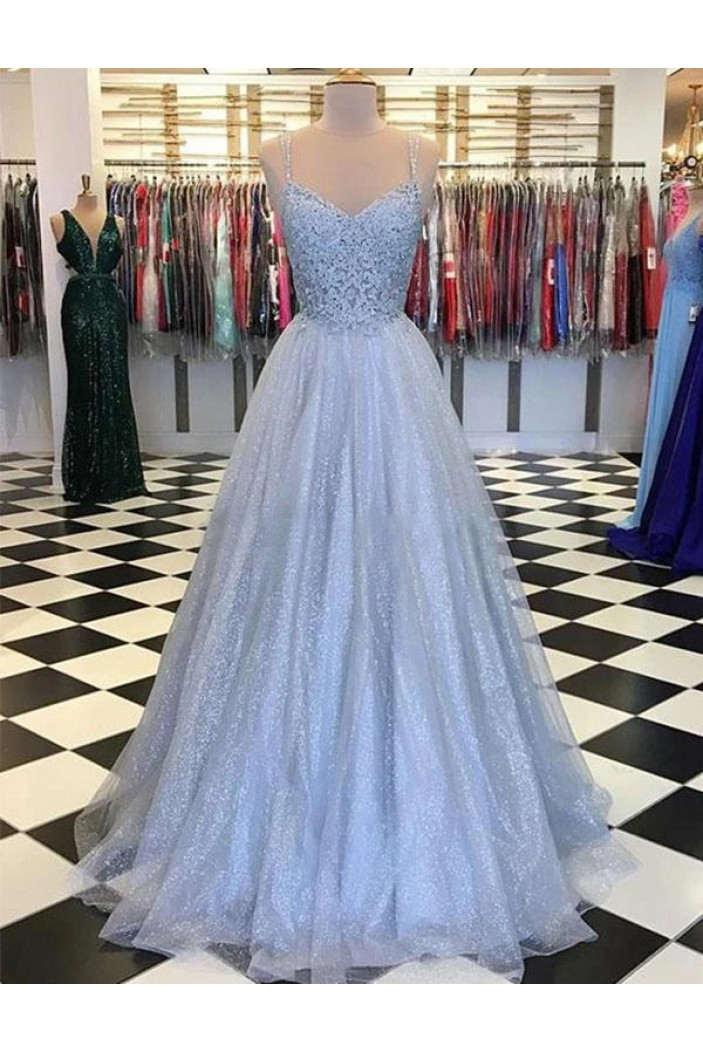 A-Line Spaghetti Straps Long Prom Dresses Formal Evening Gowns 601974