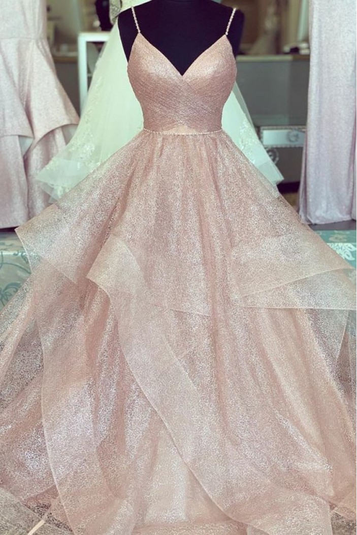 A-Line Spaghetti Straps Long Prom Dresses Formal Evening Gowns 601975