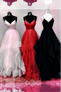 A-Line Spaghetti Straps Long Prom Dresses Formal Evening Gowns 601976