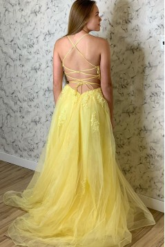 A-Line Tulle and Lace Long Prom Dresses Formal Evening Gowns 601978