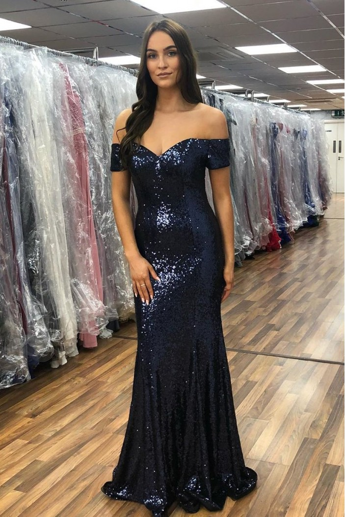 Mermaid Off-the-Shoulder Long Navy Blue Prom Dresses Formal Evening Gowns 601979