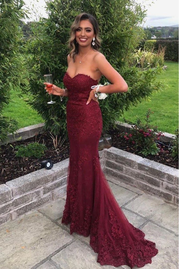 Mermaid Sweetheart Lace Long Prom Dresses Formal Evening Gowns 601980
