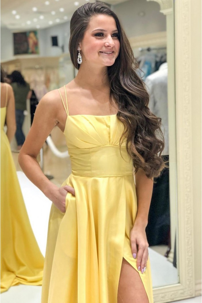 A-Line Long Yellow Prom Dresses Formal Evening Gowns 601983