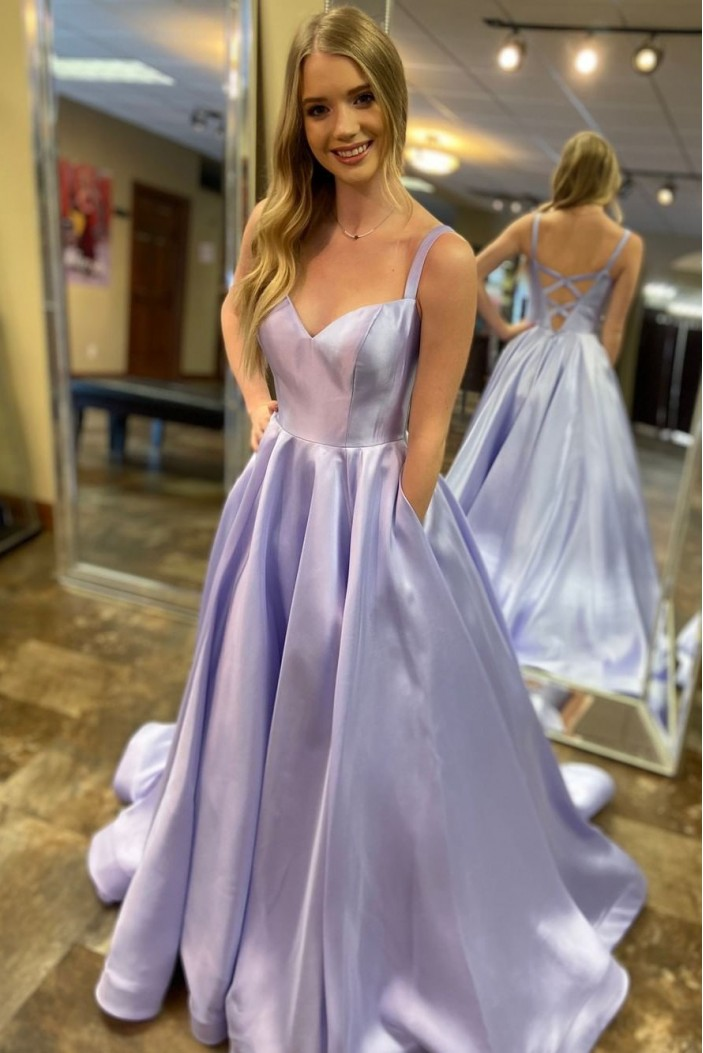 A-Line Long Satin Prom Dresses Formal Evening Gowns 601984