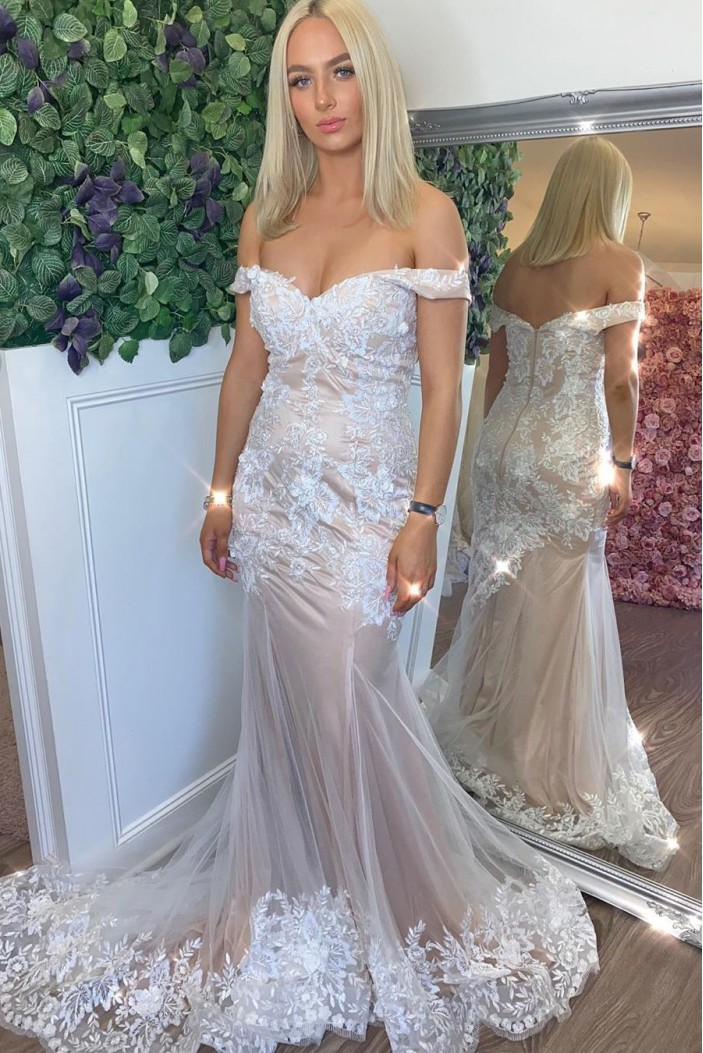 Mermaid Off-the-Shoulder Lace Long Prom Dresses Formal Evening Gowns 601985