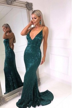 Mermaid Sequins V-Neck Long Prom Dresses Formal Evening Gowns 601986