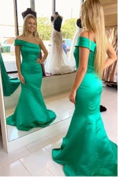 Mermaid One-Shoulder Long Green Satin Prom Dresses Formal Evening Gowns 601987