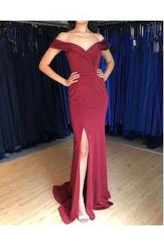 Elegant Mermaid Off-the-Shoulder Long Prom Dresses Formal Evening Gowns 601991
