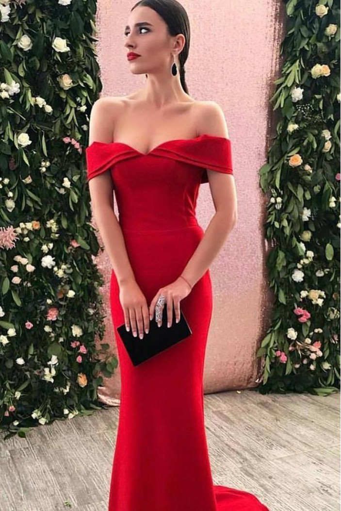 Mermaid Long Red Off-the-Shoulder Prom Dresses Formal Evening Gowns 601993