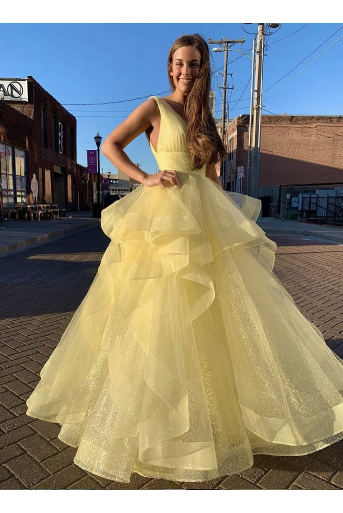A-Line Long Yellow V-Neck Prom Dresses Formal Evening Gowns 601994