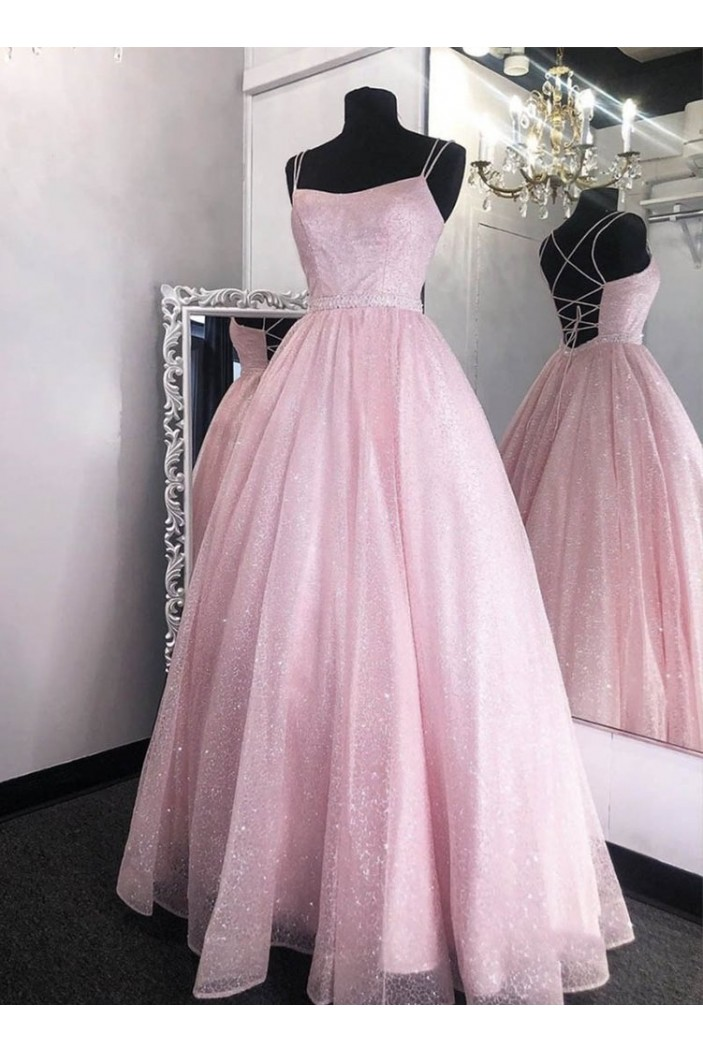 A-Line Long Pink Prom Dresses Formal Evening Gowns 601997