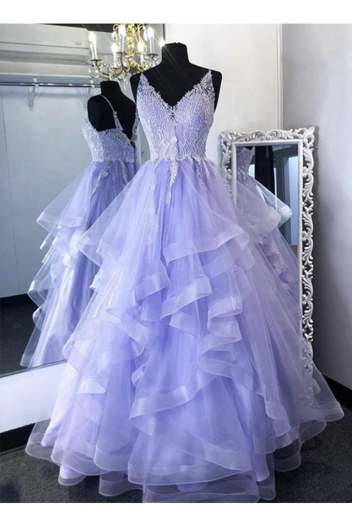 A-Line V-Neck Long Prom Dresses Formal Evening Gowns 601999