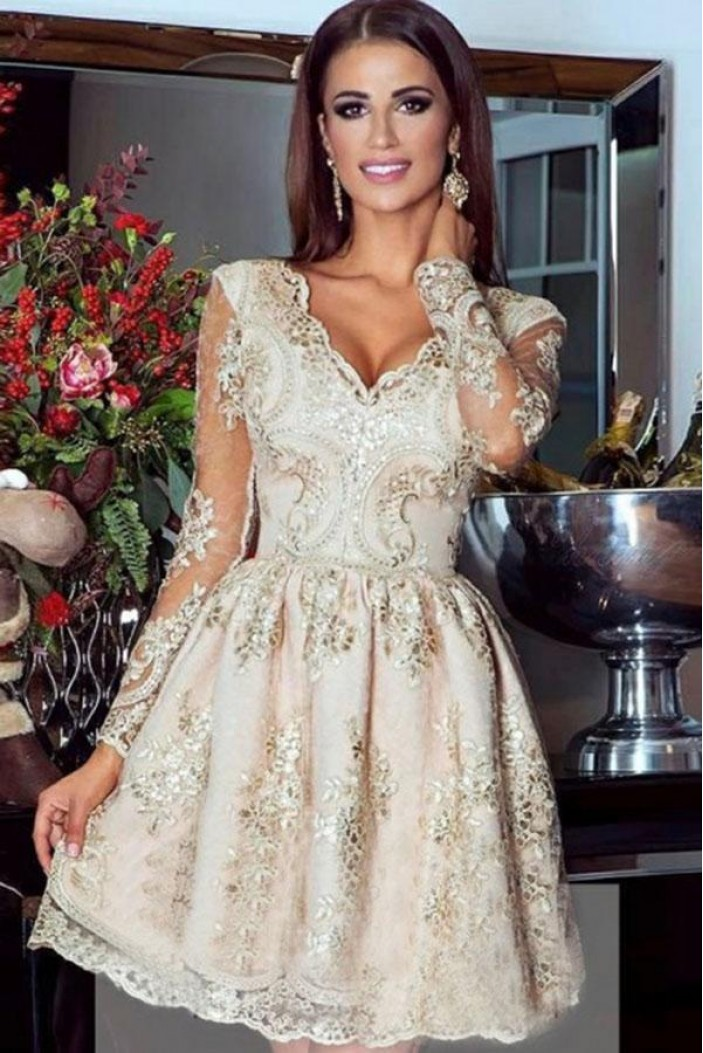 Short Lace Long Sleeves Prom Dress Homecoming Dresses Graduation Party Dresses 701007