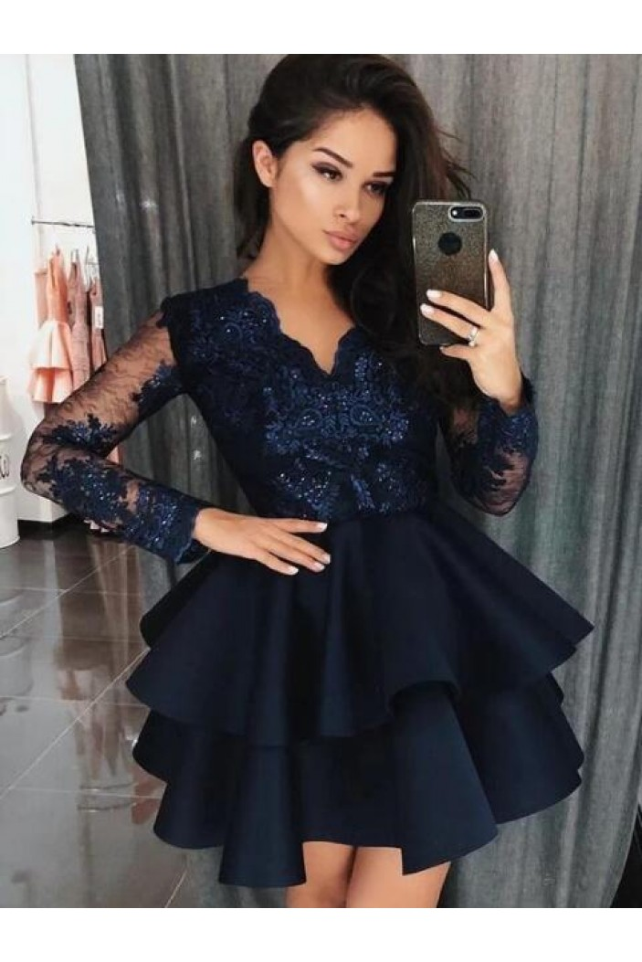 Long Sleeves Lace Short Prom Dress Homecoming Dresses Graduation Party Dresses 701011