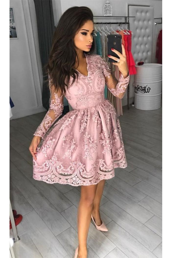 Short Prom Dress Long Sleeves Homecoming Dresses Graduation Party Dresses 701017