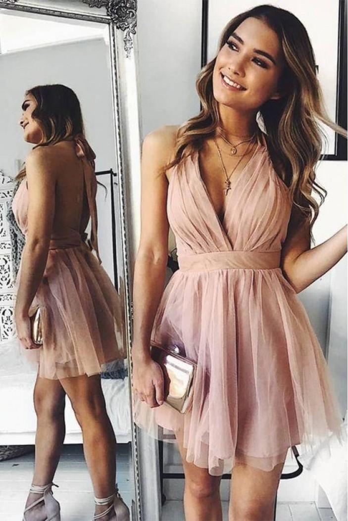 Short V-Neck Prom Dress Homecoming Dresses Graduation Party Dresses 701020