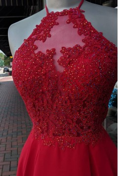 Short Red Beaded Lace Prom Dress Homecoming Dresses Graduation Party Dresses 701029