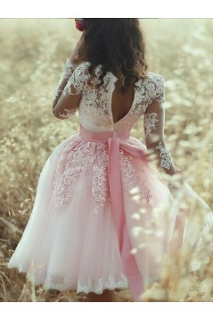 Long Sleeves Lace Prom Dress Homecoming Dresses Graduation Party Dresses 701044