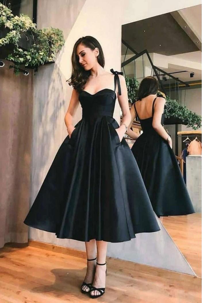 A-Line Black Prom Dress Homecoming Dresses Graduation Party Dresses 701058