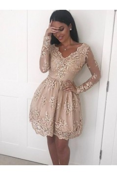 Short Prom Dress Long Sleeves Lace Homecoming Dresses Graduation Party Dresses 701070